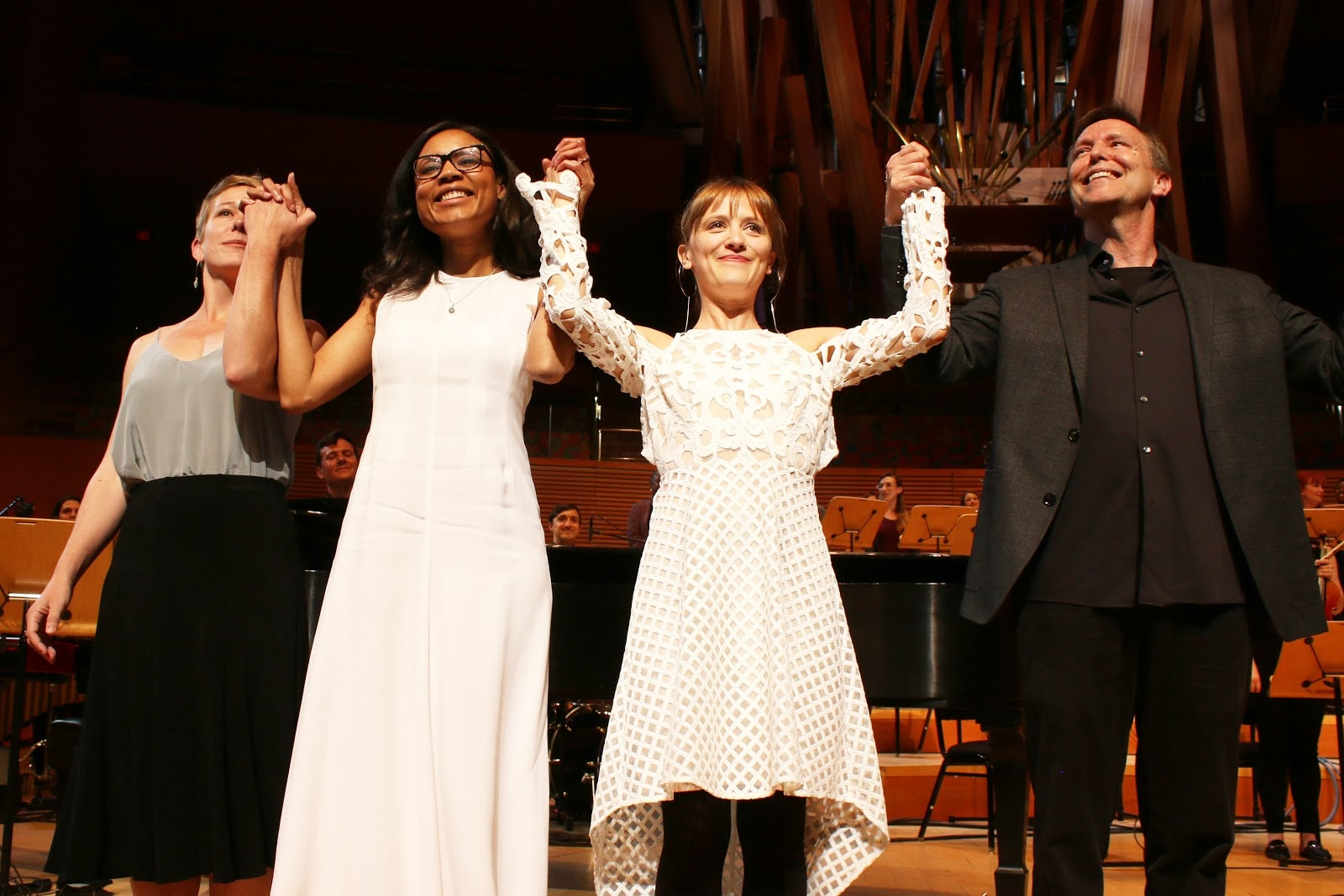Sayd Randle, Sarah LaBrie, Ellen Reid, and Grant Gershon bowing after the world premiere